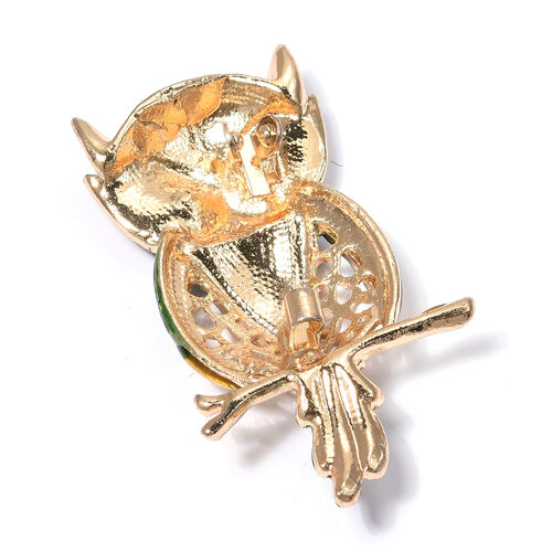 White and Green Austrian Crystal (Rnd) Owl Brooch with Enameled in Gold Tone