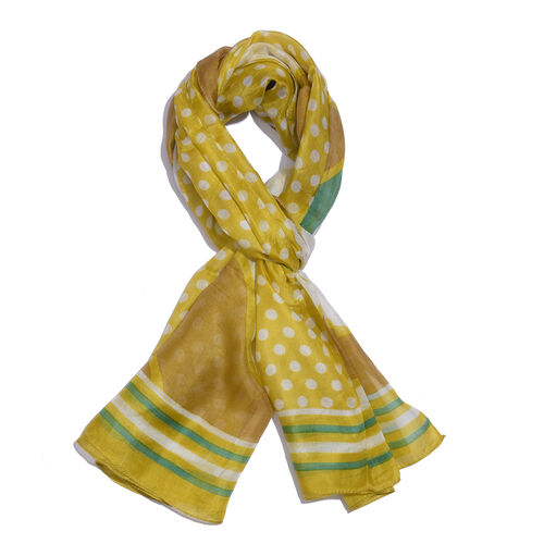 100% Mulberry Silk Mustard, Golden, White and Multi Colour Polka Dots Hand Screen Printed Scarf (Siz