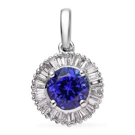 RHAPSODY 950 Platinum AAAA Tanzanite (Rnd) and Diamond Pendant 1.10 Ct.