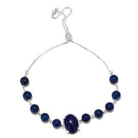Lapis Lazuli (Ovl 14x10mm) Adjustable Bracelet (Size 6.5-9.5mm) in Sterling Silver 21.00 Ct.