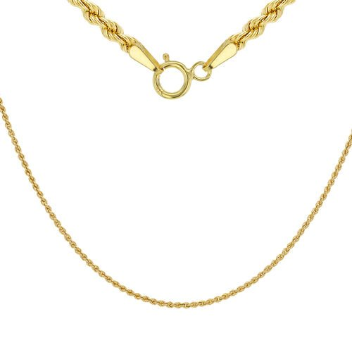 9K Yellow Gold Rope Chain (Size 16), Gold wt 1.80 Gms