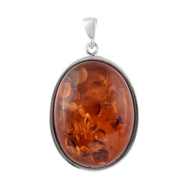 Baltic Amber (Ovl) Pendant in Sterling Silver, Silver wt 5.00 Gms