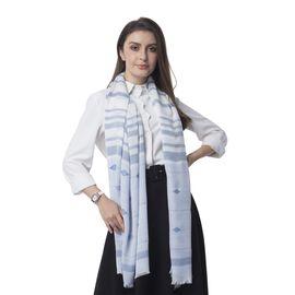 Light Blue Multi Colour Strip and Rhombus Pattern Scarf (Size 190x70 Cm)