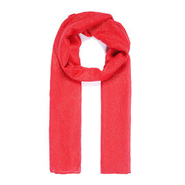 Brand New Scarves - Red Metallic Print Scarf - Red