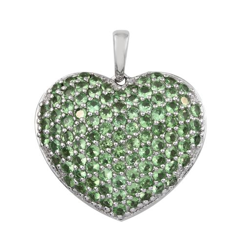 4.5 Ct Tsavorite Garnet Heart Cluster Pendant in Platinum Plated Sterling Silver 5.54 Grams
