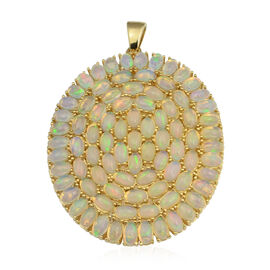 13.60 Ct Ethiopian Welo Opal Circle Pendant in Gold Plated Sterling Silver