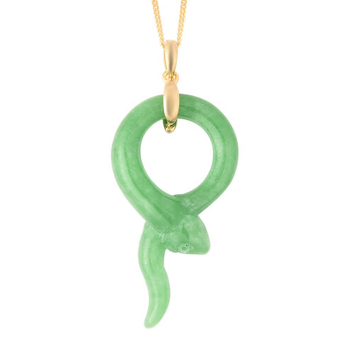 20.75 Ct Green Jade Snake Pendant with Chain in Gold Plated Sterling Silver 18 Inch