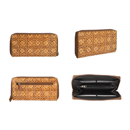 SUKRITI 100% Genuine leather Ladies Wallet in Indie Print (Size 19x2x10cm) - Brown & Dark Yellow