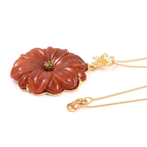 Carved Red Jade, Russian Diopside Flower Pendant with Chain (Size 18) in Vermeil Yellow Gold Overlay Sterling Silver 51.900 Ct.