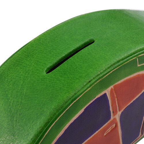 Genuine Leather Green and Multi Colour Hand Painted Car Shape Money Bank (Size 20x7x5 Cm)