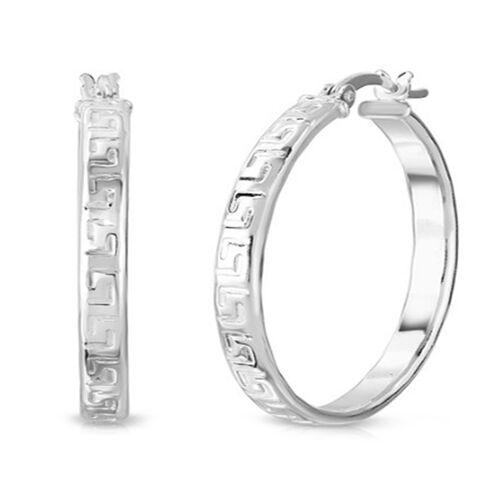 Sterling Silver Greek Key Design Hoop Earrings (with Clasp)