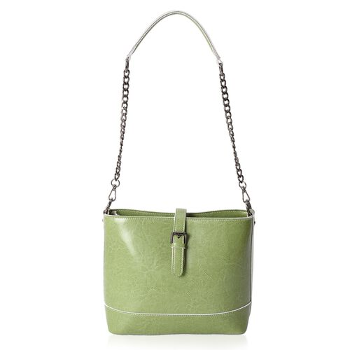 Roseland 100% Genuine Leather  Green Shoulder Bag with Zipper Pocket with Removable Strap (Size 23x20.5x10.5 Cm)