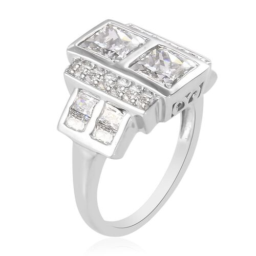 J Francis  Platinum Overlay Sterling Silver Made with SWAROVSKI ZIRCONIA Ring 5.88 Ct.
