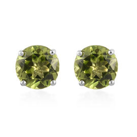 9K Yellow Gold AA Hebei Peridot Stud Earrings (with Push Back) 1.85 Ct.