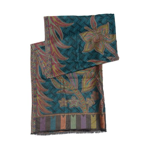 100% Modal Multi Colour Floral and Leaves Pattern Yellow and Dark Green Colour Jacquard Scarf (Size 190x70 Cm)