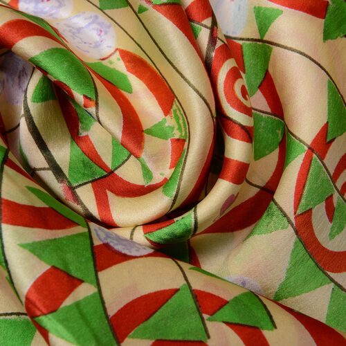 100% Mulberry Silk Yellow, Green and Multi Colour Whirlpool and Triangle Pattern Scarf (Size 160x45 Cm) (Weight 40 Gms)