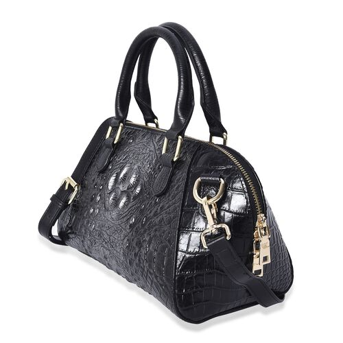 100% Genuine Leather Croc Embossed Tote Bag (Size 29x20x9.5 Cm)  - Black and Silver