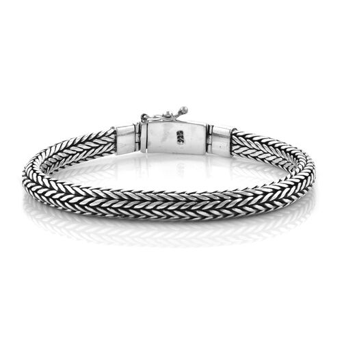 Royal Bali Collection Sterling Silver Tulang Naga Bracelet (Size 7), Silver wt 44.00 Gms.