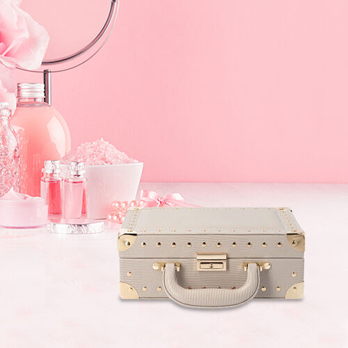 Grace Collection - Briefcase Design Lizard Skin Pattern Two Layer Anti-Tarnish Jewellery Storage Box with Inside Mirror, Removable Tray and Velvet Lining (Size 25x17.5x9.5cm) - Ivory