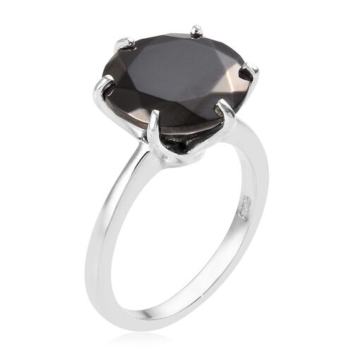 Elite Shungite (Rnd) Solitaire Ring in Platinum Overlay Sterling Silver 4.25 Ct.