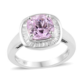 3.03 Ct Kunzite and Diamond Halo Ring in 14K White Gold 3.31 Grams