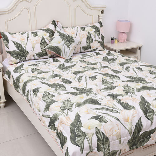 4 Piece Set - Calla Lily Leaf Pattern 100% Mulberry Silk Filled Quilt with 100% Cotton Cover, 2 Pill