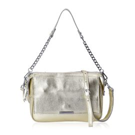 CLOSE OUT DEAL- 100% Genuine Leather Light Golden Colour Cross Body Bag (Size 24x9x18 Cm) with Magne