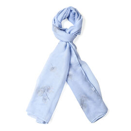 Light Blue Colour Dandelion Pattern Scarf (Size 180x70 Cm)