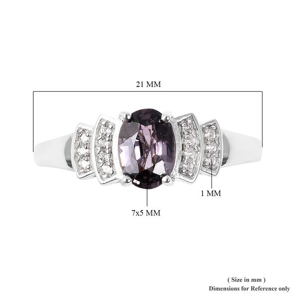 Extremely Rare Lavender Spinel (Ovl 7x5 mm), Natural White Cambodian Zircon Ballerina Ring in Rhodium Overlay Sterling Silver 1.135 Ct.