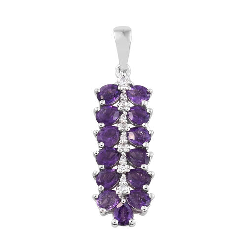 2 Ct Amethyst, Natural Cambodian Zircon Sterling Silver Pendant in Platinum Overlay