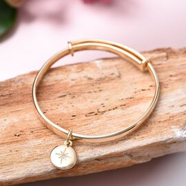 RACHEL GALLEY Diamond Kids Bangle (Size 4.95) with Star Charm in Yellow Gold Overlay Sterling Silver