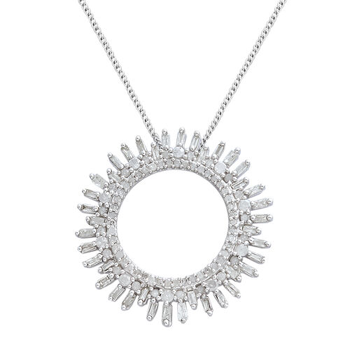 Designer Inspired- Diamond (Rnd and Bgt) Circle of Life Pendant with Chain in Platinum Overlay Sterling Silver 1.000 Ct.