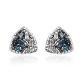 Blue and White Diamond Stud Earrings (with Push Back) in Platinum Overlay Sterling Silver 0.04 Ct.