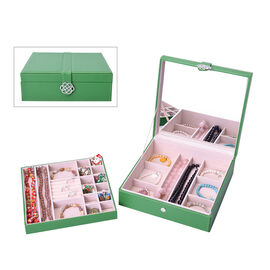 Two-Layer Green Jewellery Box with Multiple Compartments and Mirror (Size 26x26x9cm)