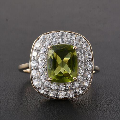 9K Yellow Gold AAA Hebei Peridot (Cush 3.05 Ct), Natural Cambodian Zircon Ring 4.750 Ct.