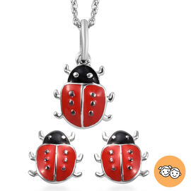 2 Piece Set for Children Lady Bird Pendant and Earrings with 18 Inch Chain in Sterling Silver