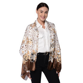 LA MAREY 100% Mulberry Silk Brown Leopard Print on Cream Scarf (165x50cm)