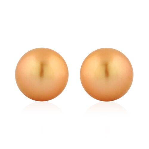 ILIANA 18K Yellow Gold Golden South Sea Pearl Ball Stud Earrings (with Push Back)