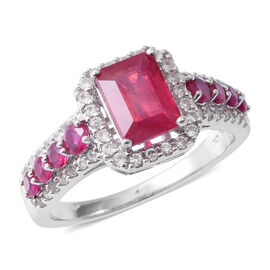 African Ruby (Oct 2.38 Ct), Natural White Cambodian Zircon and Burmese Ruby Ring in Rhodium Overlay