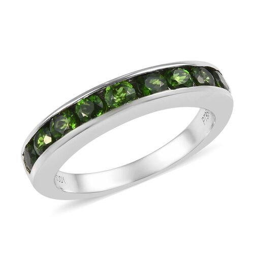RHAPSODY 1.15 Ct Russian Diopside Half Eternity Band Ring in 950 Platinum 5 Grams