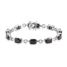 9.50 Ct Elite Shungite Station Bracelet in Platinum Plated Sterling Silver 7 Inch