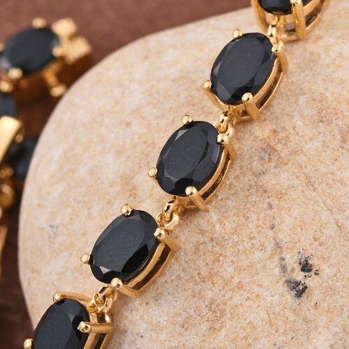 Australian Midnight Tourmaline (Ovl) Line Bracelet (Size 7.5) in 14K Gold Overlay Sterling Silver 17.000 Ct.