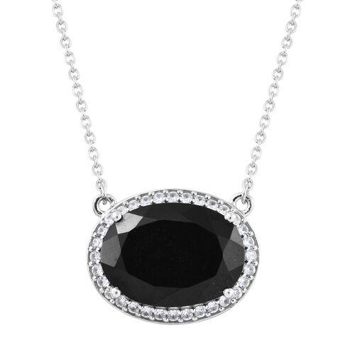 Black Tourmaline (Ovl 12.50 Ct), Natural Cambodian Zircon Necklace (Size 18) in Platinum Overlay Ste
