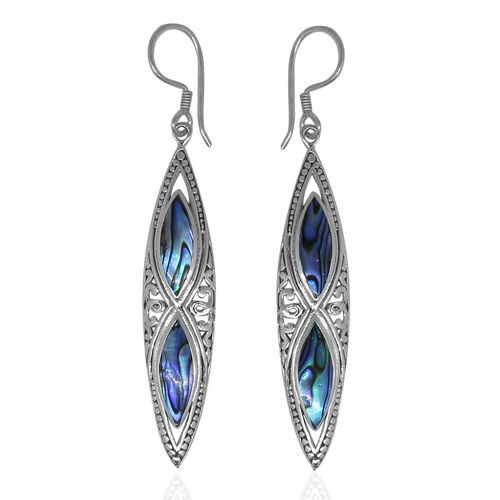 Royal Bali Collection Abalone Shell Hook Earrings in Sterling Silver 12.000 Ct. Silver wt 5.00 Gms.