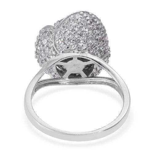 J Francis - Platinum Overlay Sterling Silver (Rnd) Rose Ring Made with SWAROVSKI ZIRCONIA, Silver wt. 7.74 Gms. Number of Swarovski 106