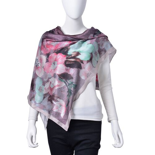 Purple, Green and Multi Colour Floral Pattern Square Shape Scarf (Size 110X110 Cm)