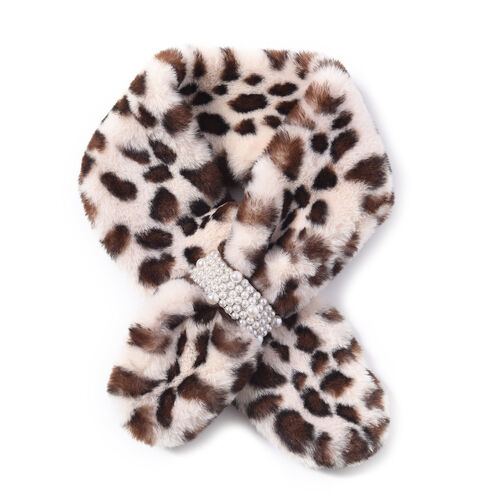 Faux Fur Scarf with Pearl (Size 10x80cm) - White