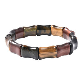 137.50 Ct Multi Tiger Eye Stretchable Beaded Bracelet 7 Inch