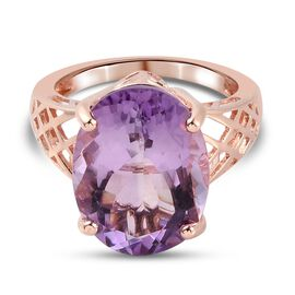 Rose De France Amethyst Solitaire Ring in Rose Gold Sterling Silver 8.24 Ct.