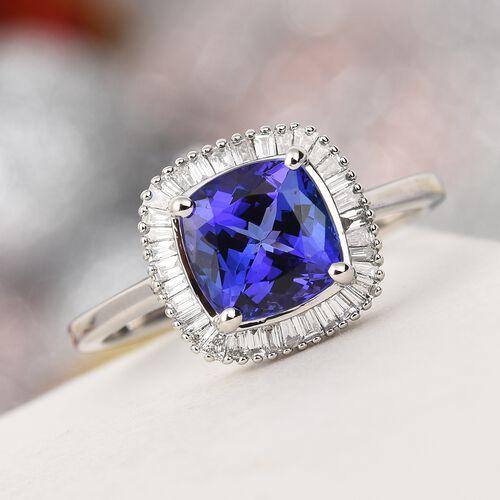 RHAPSODY 950 Platinum AAAA Tanzanite and Diamond Halo Ring 3.00 Ct, Platinum wt. 5.50 Gms